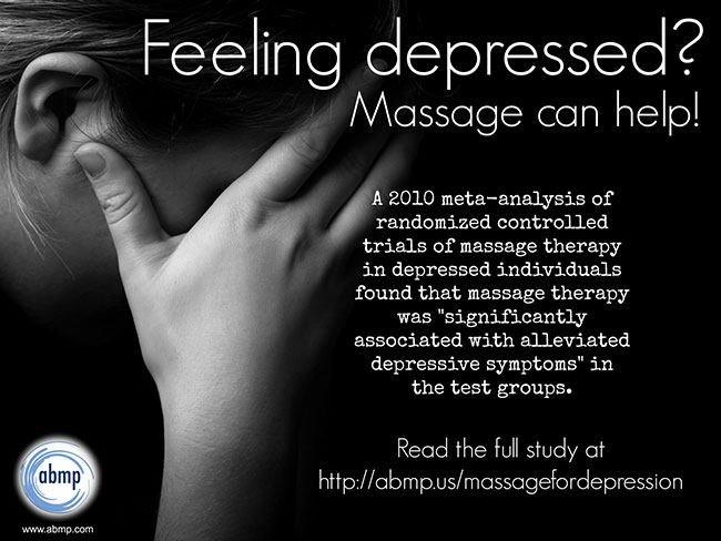 Massage benefits depression and anxiety.